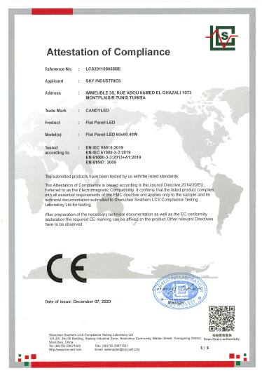 Certification Flat Panel Candyled