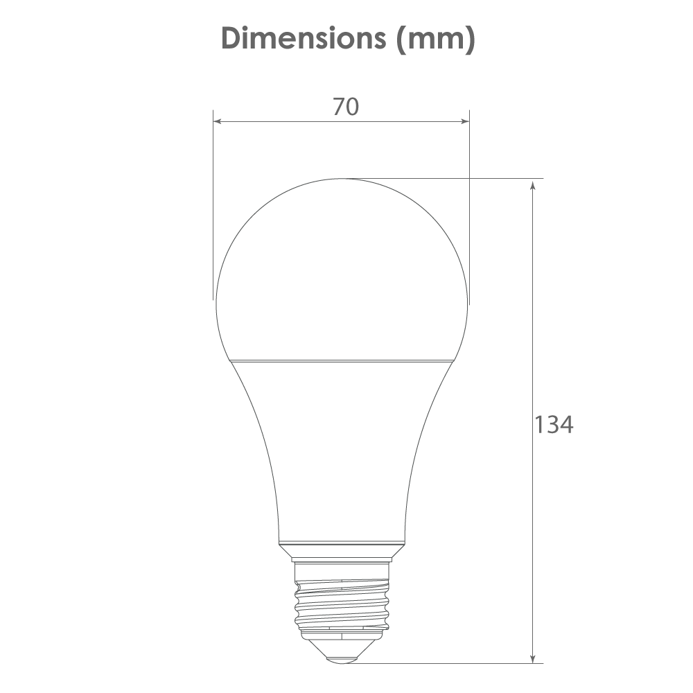 Dimensions Lampe Candyled 15W E27