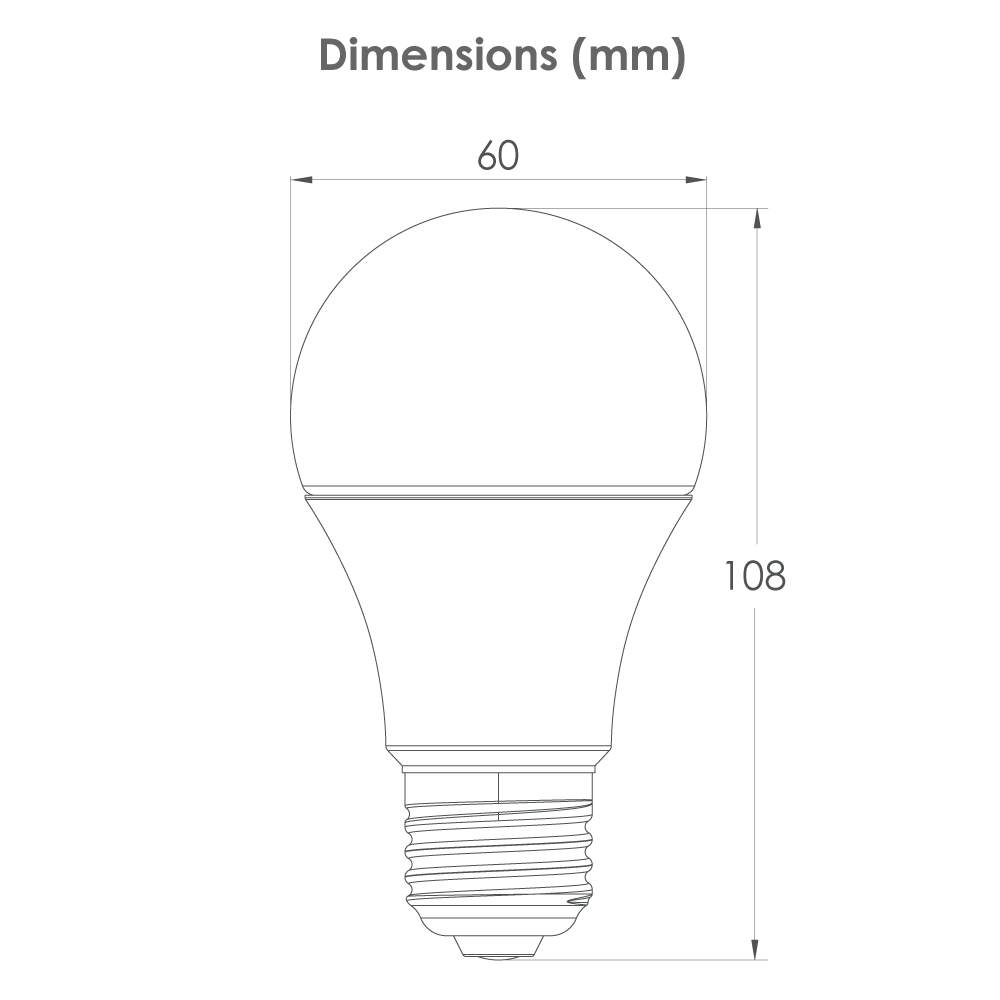 Lampe LED 9W Candyled Dimensions